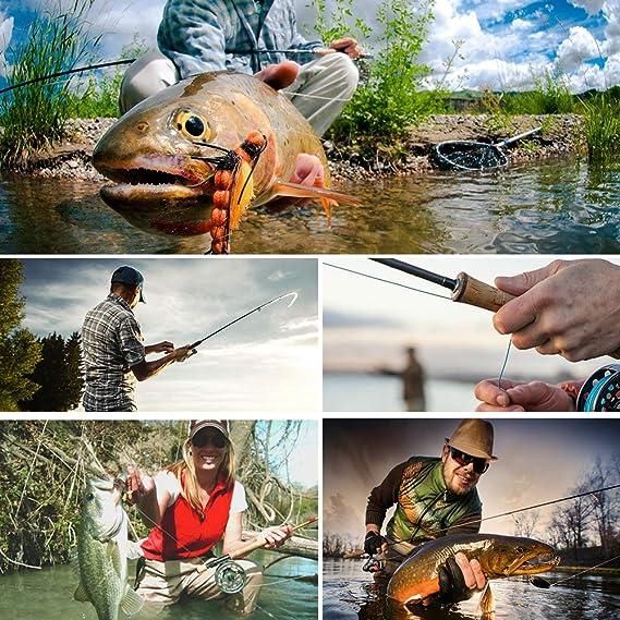 PROBEROS Ca/ña de Pescar con Mosca 4 Piezas Carb/ón Ca/ñas de Mosca