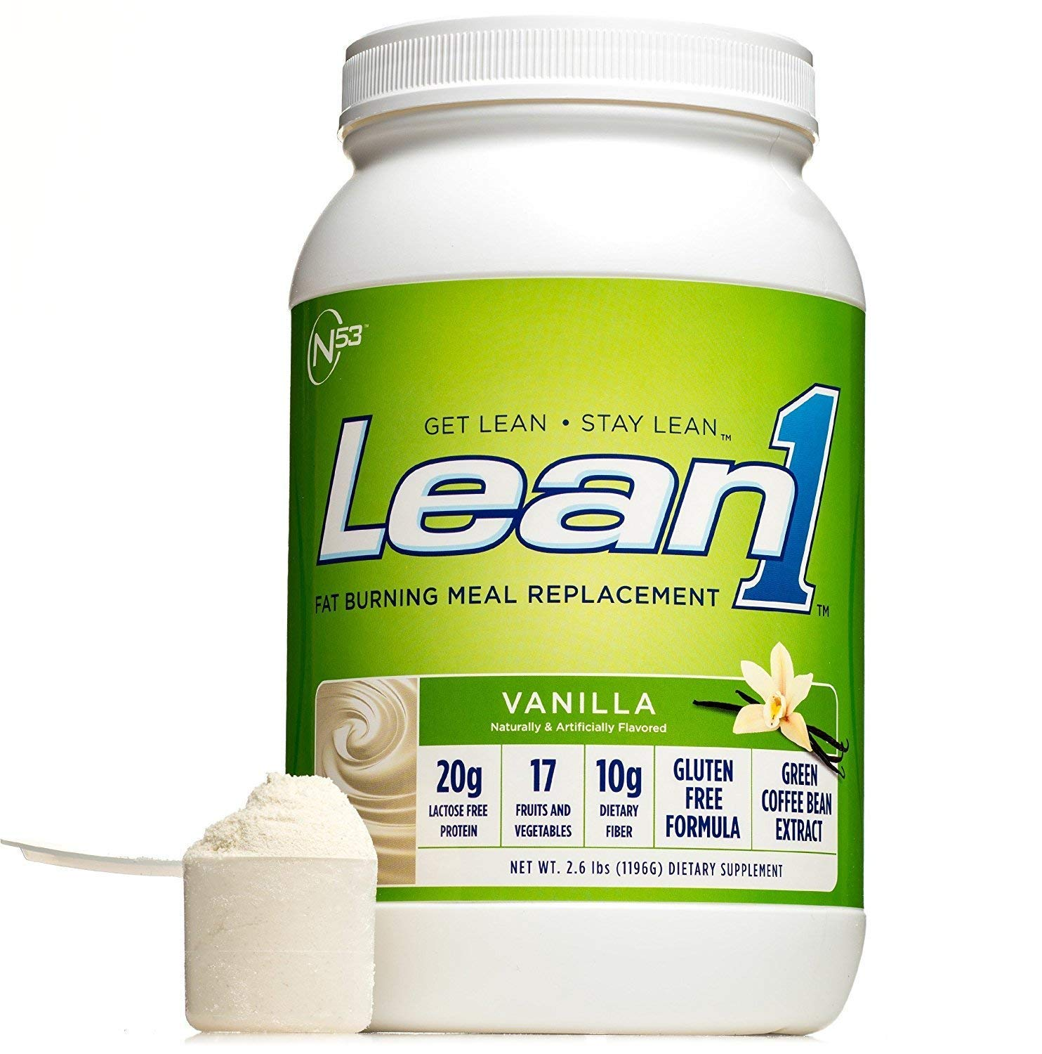 Lean 1 Vanilla Protein Powder Meal Replacement Shakes by Nutrition 53, Lactose & Gluten Free with Green Coffee Bean Extract, 23 Serving Tub - 42 Oz by LEAN1