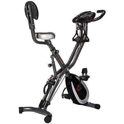 Ultrasport F-Bike 400BS bicicleta estática plegable con respaldo, tracción, pantalla y App