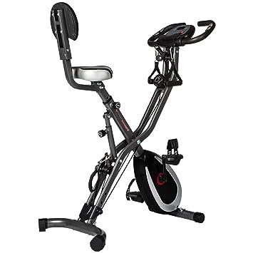 Ultrasport F-Bike Advanced bicicleta estática con ordenador y App, sensor de pulsaciones, plegable