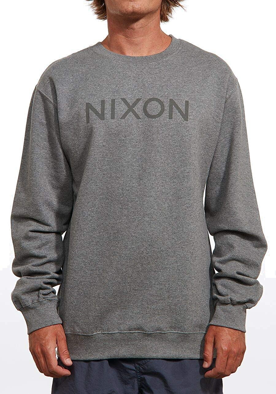 NIXON Wordmark Crew Sweater Dark Grey Heather