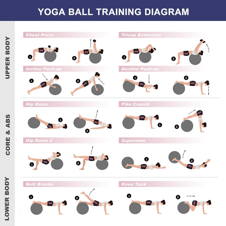 Exercise Ball, (55cm 65cm) Anti-Burst and Slip Resistant Yoga Ball Fitness Ball