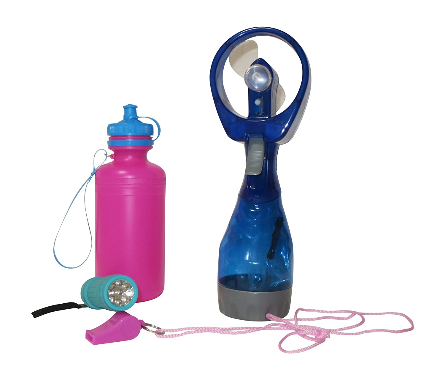 4 Piece Set For Sports, Hiking and Camping with LED flashlight, Canteen, Whistle, Misting Fan