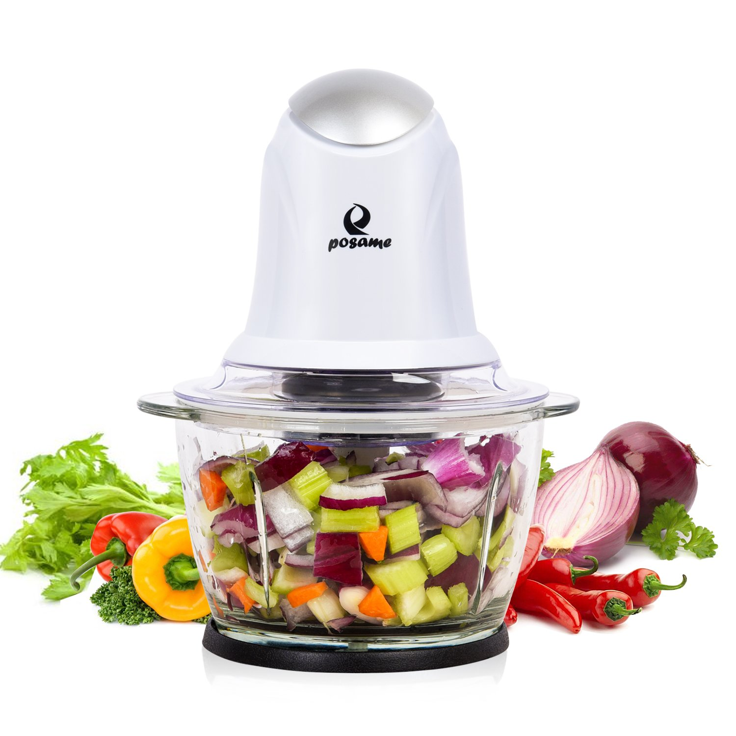 POSAME Mini Food Processor Meat Grinders Electric,Small Kitchen Food Chopper Vegetable Fruit Cutter Onion Slicer Dicer, Blender and Mincer, with 4-Cup Glass Bowl-White