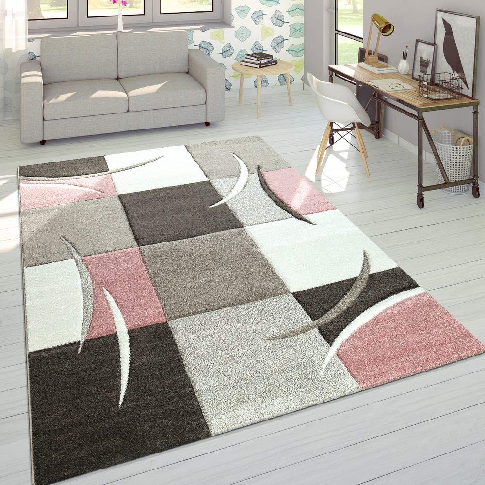 Paco Home Home Home Designer Teppich Modern Konturenschnitt Pastellfarben Mit Karo Muster Beige Rosa, Grösse 200x290 cm B06X954CZP Teppiche 9fb6c0