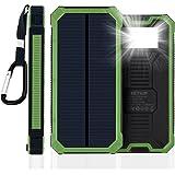 JETSUN 15000mAh 超大容量モバイルバッテリー ソーラーパネルチャージャー 充電器 二つの充電方法 旅行 ハイキングや地震 災害時が必要なもの (グリーン)