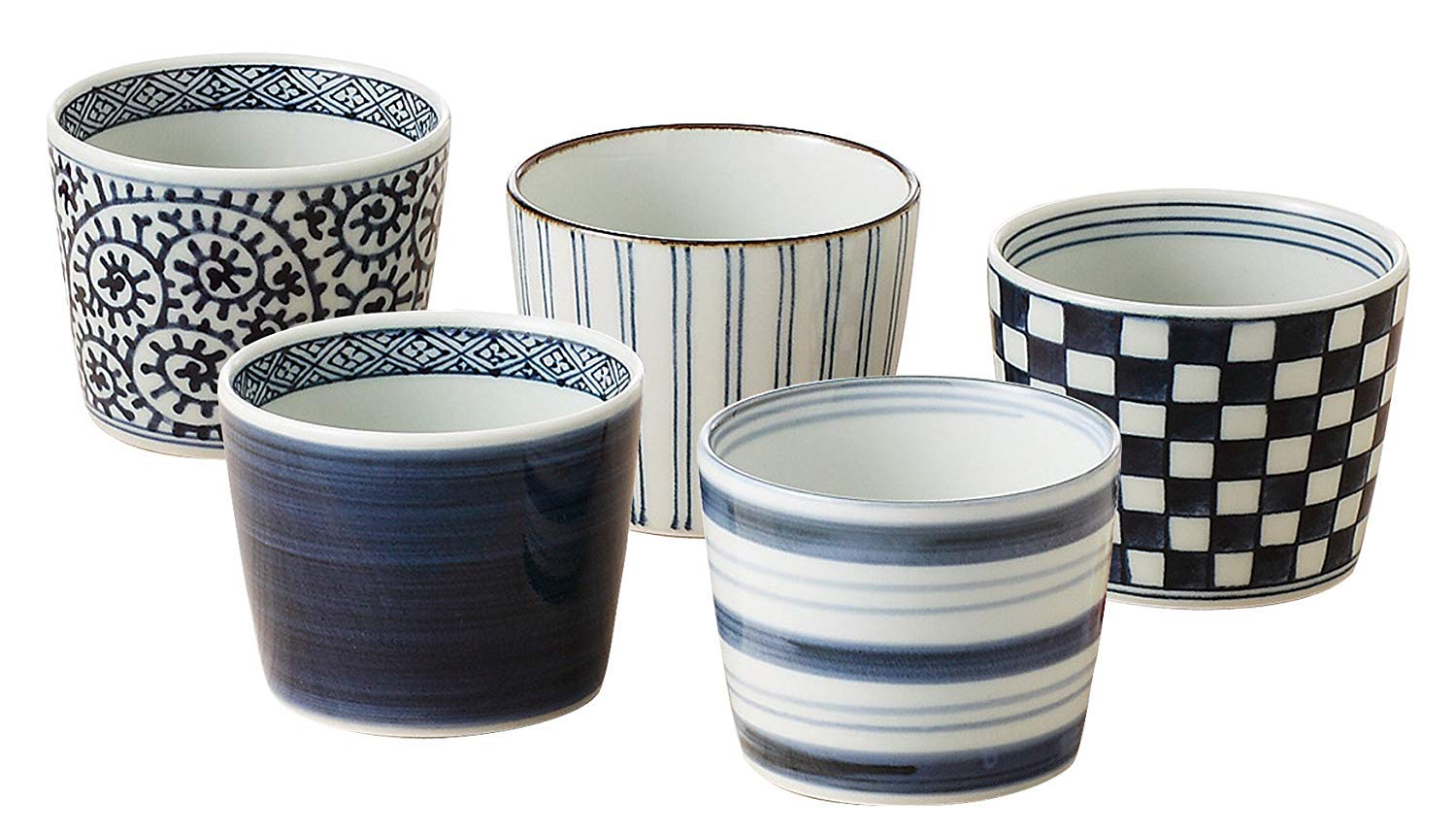 Japanese Soba choko cups with Japanese traditional pattern,Set of 5