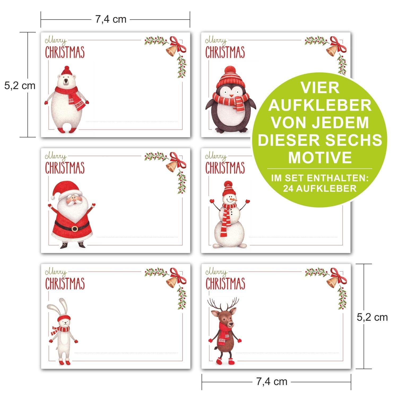 6 weihnachtliche Motive Sticker f/ür tolle Geschenke und selbstgebastelte DIY Adventskalender ArtUp.de 24 St/ück Aufkleber Weihnachten selbstklebend zum Beschreiben DIN A8 ca 7 x 5 cm