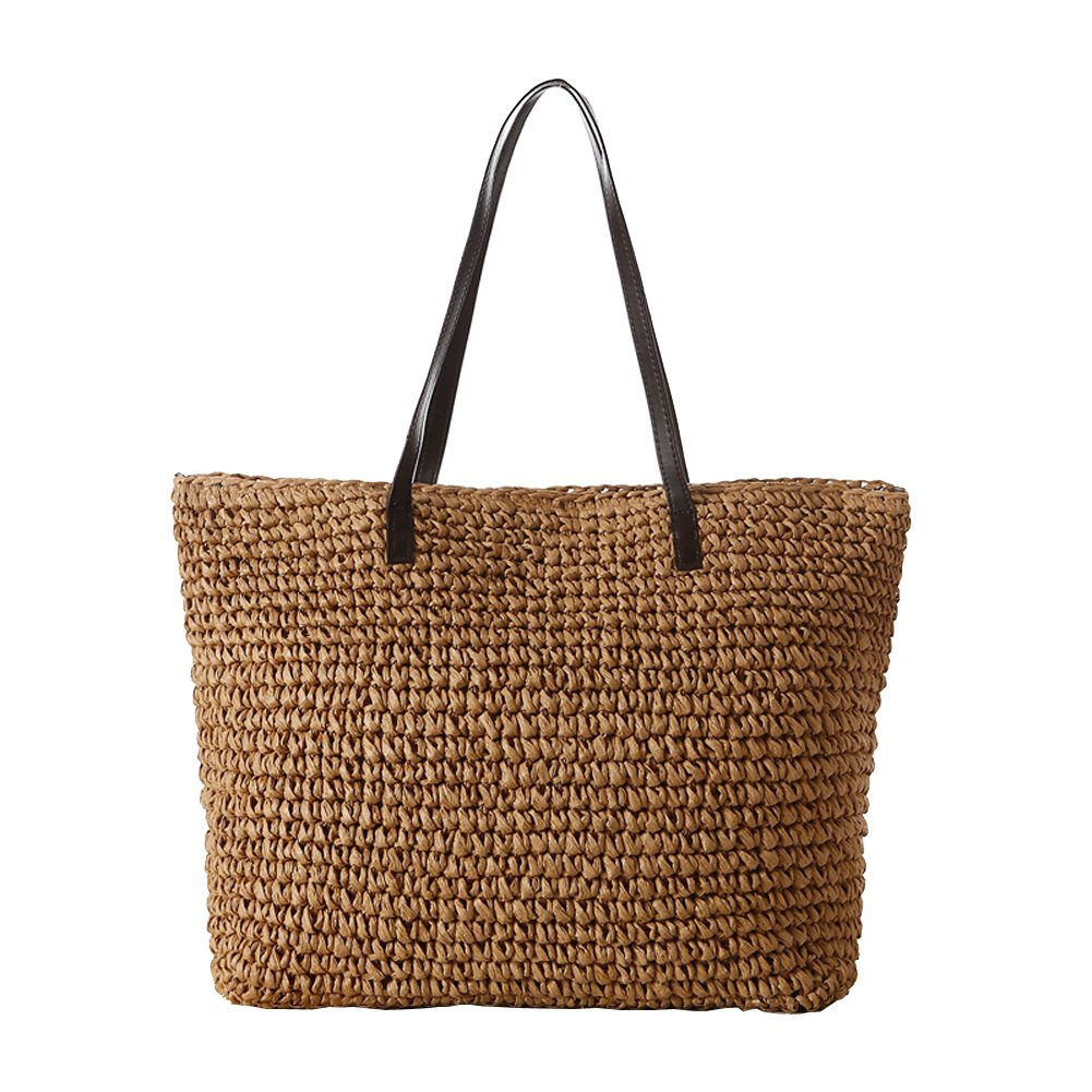 Newest trent Women's Classic Straw Weaving Summer Beach Tote Carry Bag Handbag Shoulder Bags with PU Leather Strap Hobo Purse Woven bag
