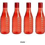 Steelo Stark Plastic Water Bottle, 1 Litre, Set of 4, Red
