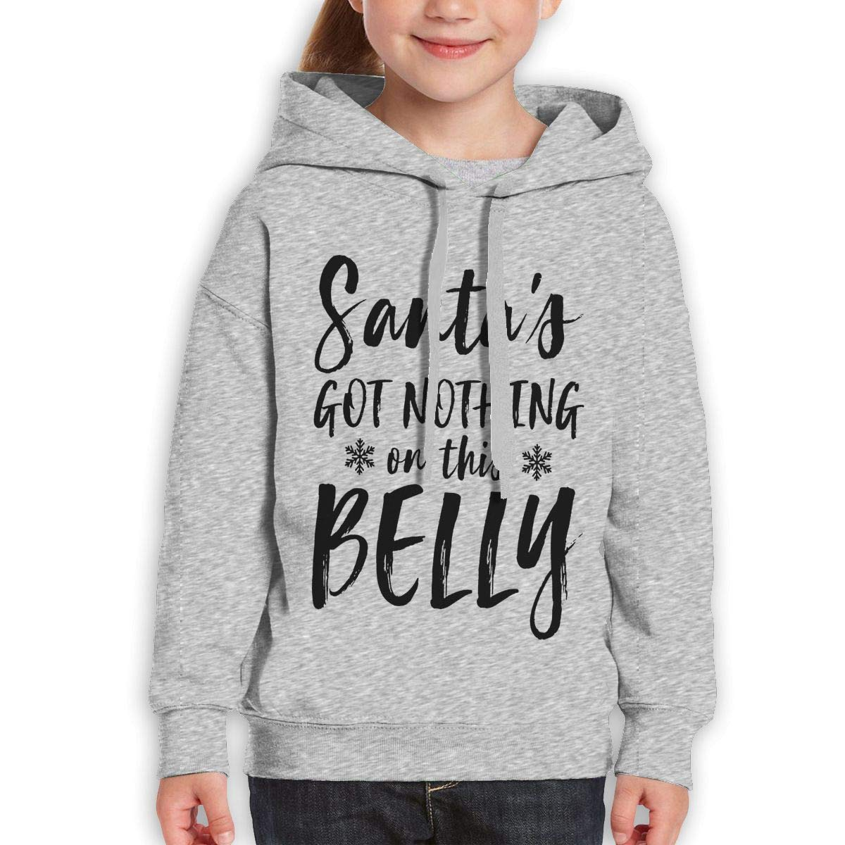 Boys Girls Santas Got Nothing On This Belly Teen Youth Hoody Gray L