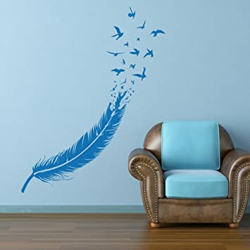 Vinyl feather wall decal birds of a feather wall art sticker birds feather wall decor wall