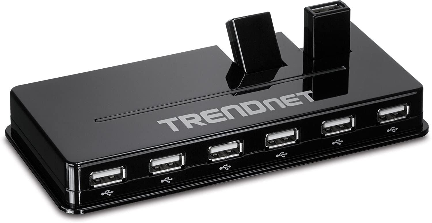 TRENDnet High Speed USB 2.0 10-Port Hub with 5V/2.5A Power Adapter and Two Flip-Up Ports, Mac and Windows Compatible, Plug & Play, TU2-H10