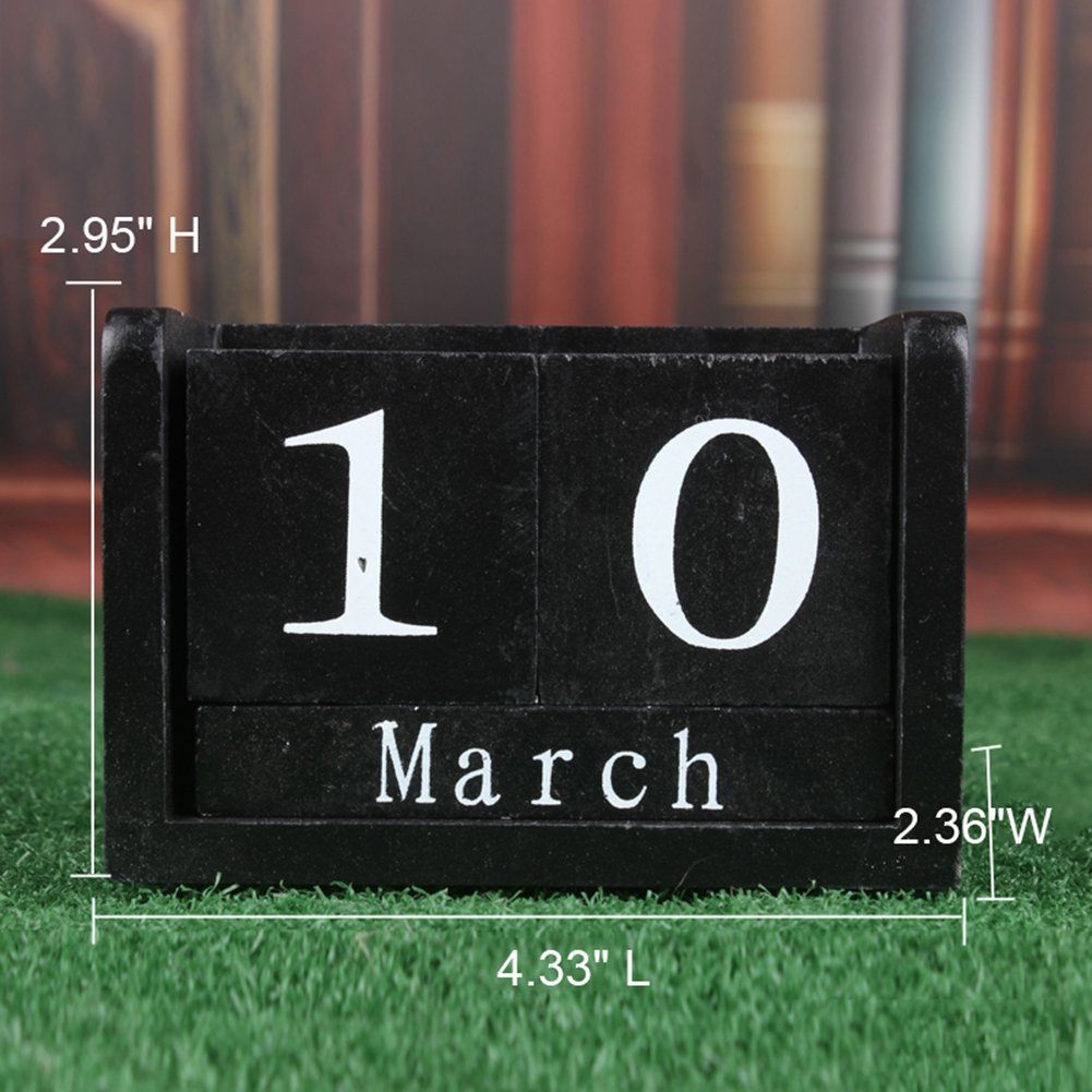 LANGUGU Novelty DIY Wooden Blocks Daily Perpetual Desk Calendar Photography Props Christmas Crafts Home Office Decoration (Black)