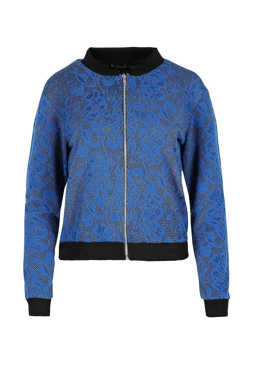 Oops Outlet Womens Bomber Jacket Floral Leaf Collar Long Sleeve Zip Biker Coat