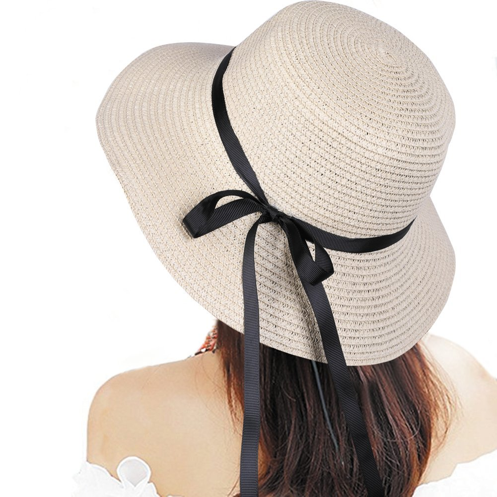VITALT Summer Hats for Women, Foldable Roll up Bowknot Straw Beach Sun Cap Hat Sunhat UPF 50+ for Women Grils Ladies UV Sun Protection (Beige 03)