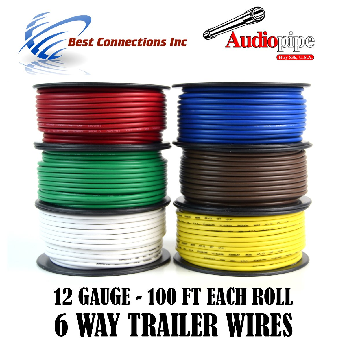 Trailer Wire Light Cable for Harness 6 Way Cord 12 Gauge - 100ft roll - 6 Rolls