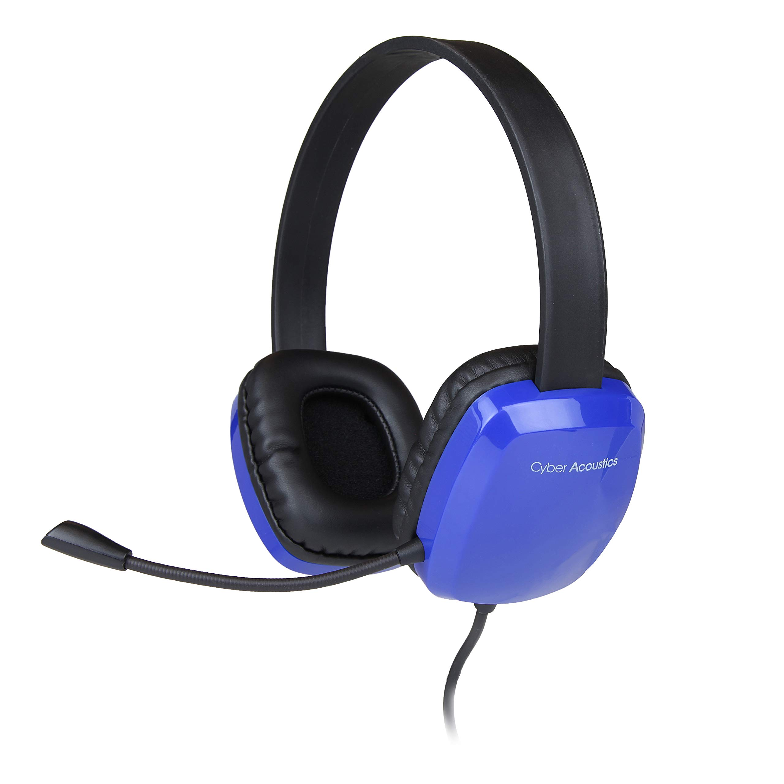CYBER ACOUSTICS - Stereo Headset with Noise-Canceling Microphone - Compatible with PC's, Macs, Chromebooks, Tablets, Smartphones, iPods, MP3 Players, and Most Gaming Systems (AC-6008BL).