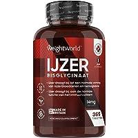 IJzertabletten 14 mg - 365 IJzer tabletten voor een jaar voorraad - Laboratorium getest - Bisglycinaat Hoge biologische…