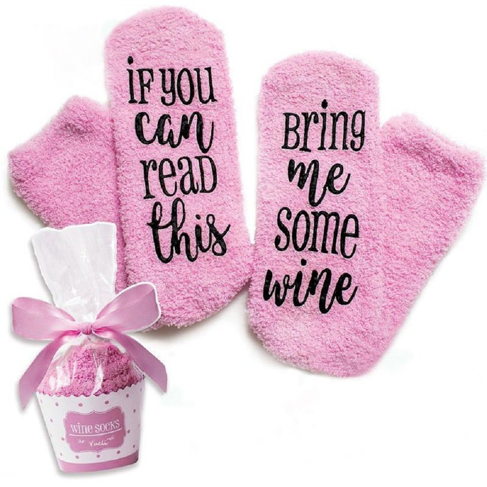 AfterEight Bring Me Wine Socks, Perfect Women's Birthday Gift Idea For 30th and 40th Present or Wine Accessory. Tube Socks' are Long, Thick, Warm and Comfortable. Made from Fuzzy, Soft Cotton Fleece. by AfterEight