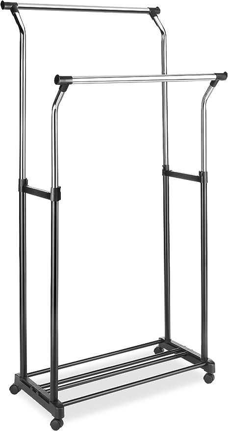 whitmor adjustable double garment rack rolling clothes organizer chrome