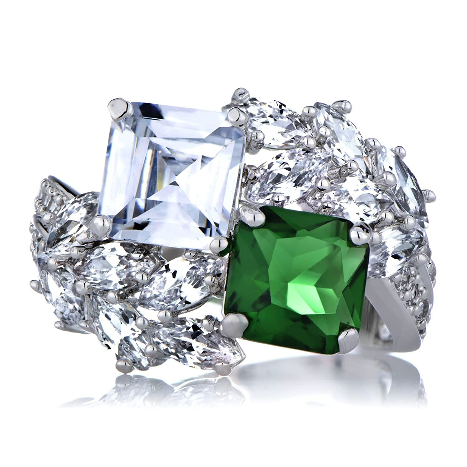 Presidential Wedding Ring   Green CZ: Emitations: Amazon.co.uk: Jewellery