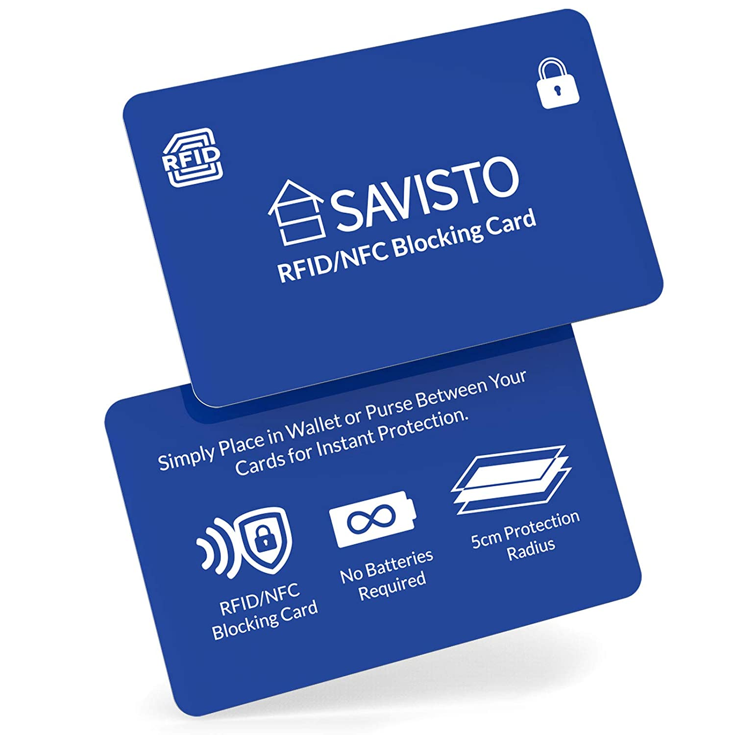 Savisto RFID Blocking Card, Single Pack | Anti-Theft RFID/NFC Card Protector Insert with Jamming Signal | Protects Contactless Cards, ID Cards, Car Keys & More - Black SV-HOUS-Z096