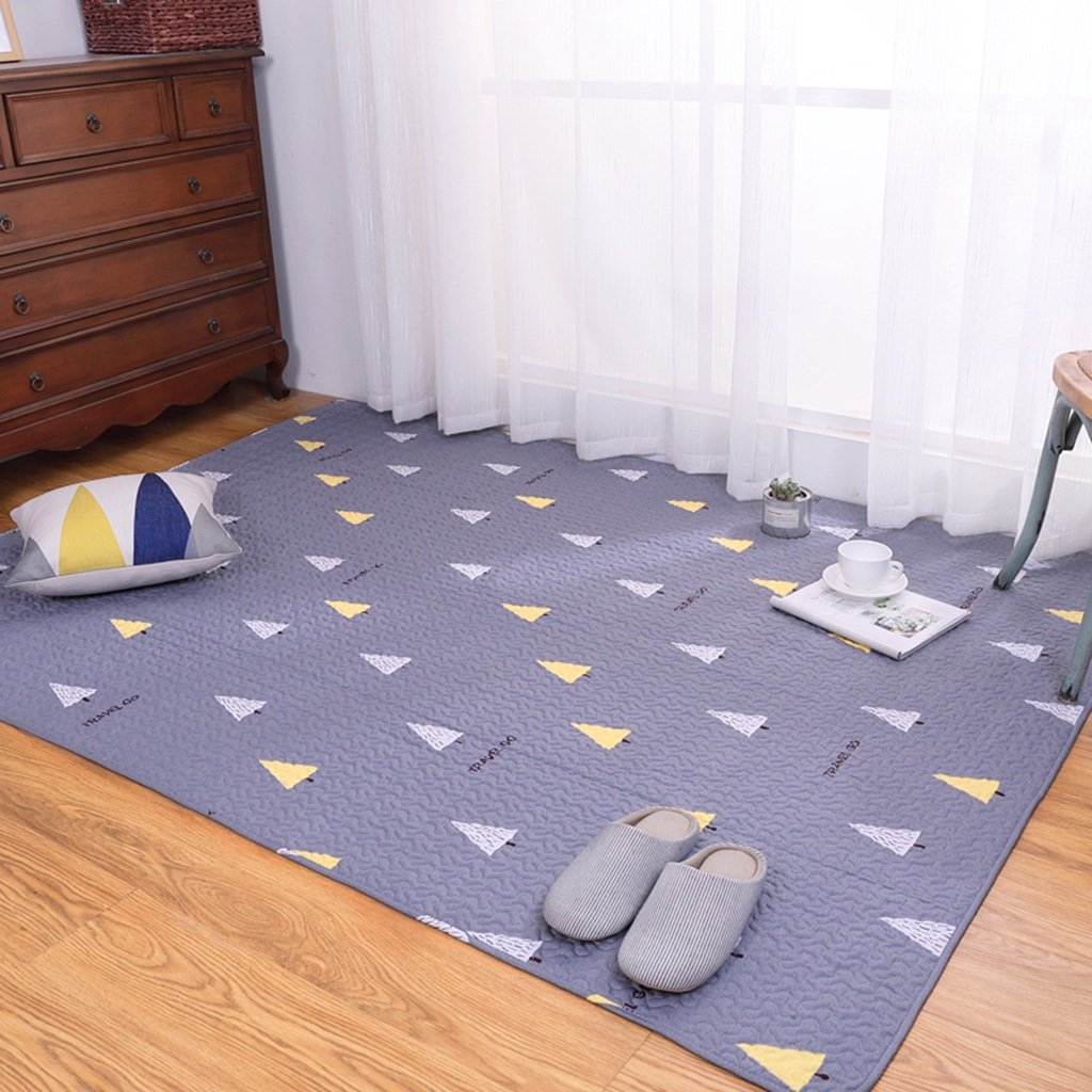 Blue Triangle Pattern of Cotton Household Tatami Crawling mat Triangle Pattern Machine Washable Washable