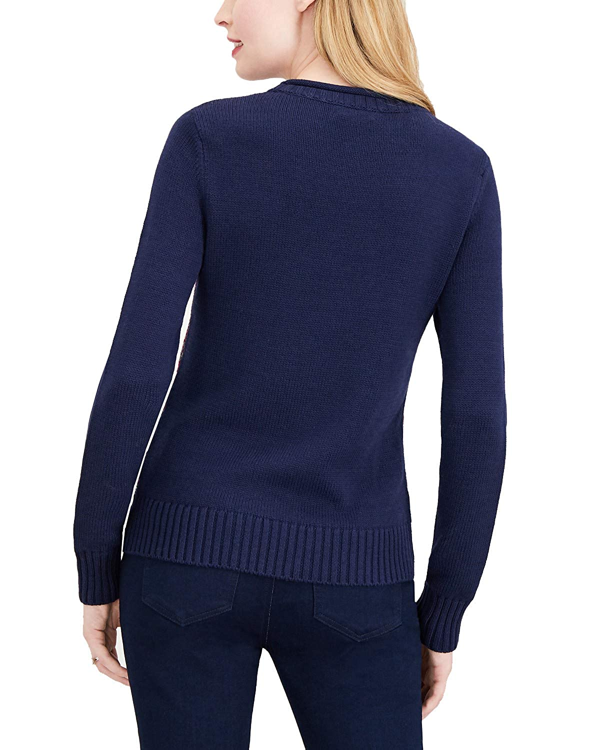 Small Blue Notte Maison Jules Womens Striped Crew-Neck Sweater