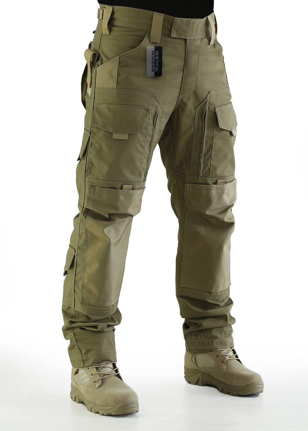 ZAPT Tactical Molle Ripstop Combat Trousers Army Multicam/A-TACS LE Camo Pants for Men (Coyote Brown, M)