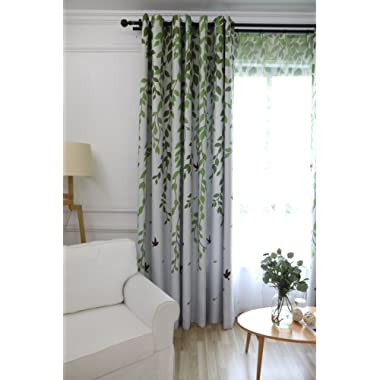 SemiBlackout Room Darkening Window Curtains/Panels 63 for Bedroom Green Tree Leaves Birds Pattern Cloth Curtains Ring Top Grommet Thermal Insulated Drapes for Living Room AiFish 1 Panel W52 x L63 inch
