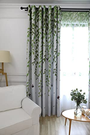 Smei Blackout Room Darkening Window Curtains Panels for Bedroom Green Tree Leaves and Birds Pattern Cloth Curtains Ring Grommet Thermal Insulated Drapes for Living Room AiFish 1 Panel W52 x L96 inch