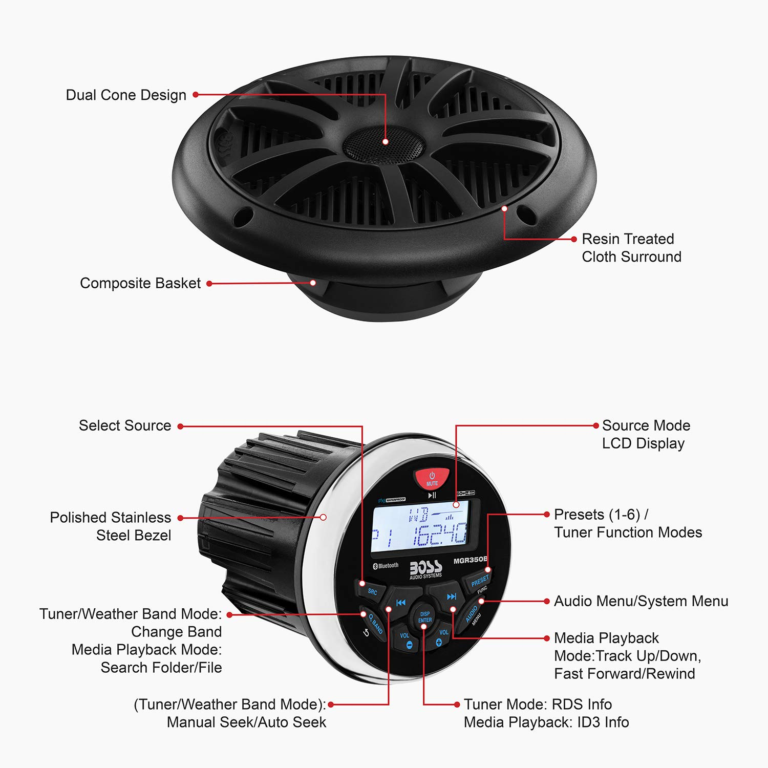 no CD Player AM//FM USB//MP3 6.5 Inch Speakers NOAA Weather Band Tuner Bluetooth Audio IPX6 Receiver BOSS Audio Systems MCKGB350W.6 Weatherproof Marine Gauge Receiver and Speaker Package