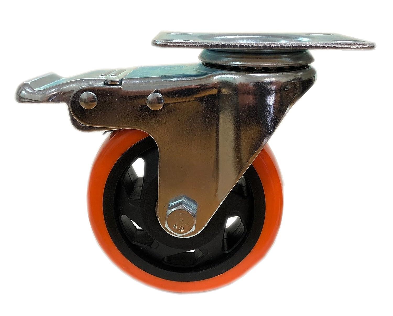 Naranja Kippen 1641/A Rueda de poliuretano con placa giratoria y freno 75/mm.