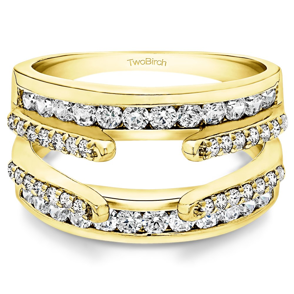 TwoBirch 0.5 Ct. Combination Cathedral and Classic Ring Guard(in 10k Yellow Gold size 5) with Diamonds (G,I2) by TwoBirch