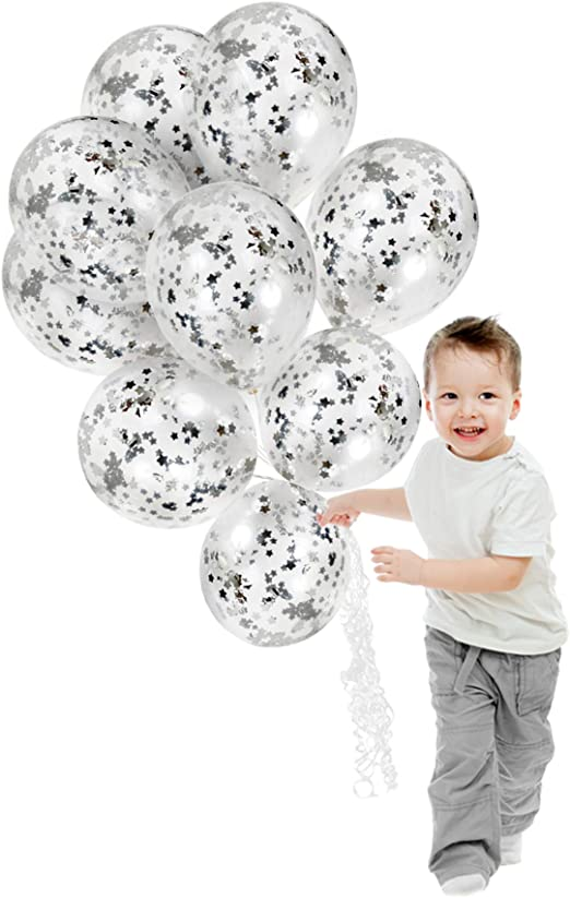 Engagement Wedding Birthday Clear Silver Confetti Balloons Party Decorations 10