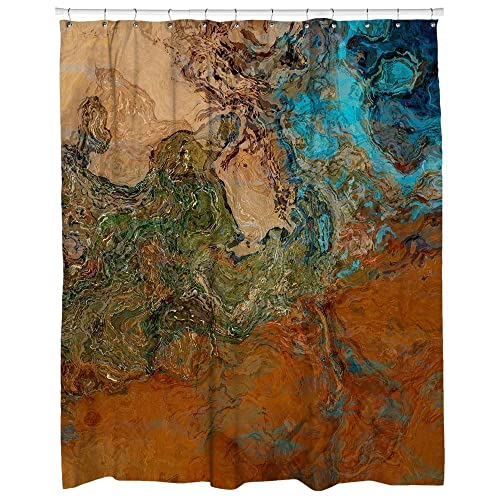 Abstract Art Shower Curtain Southwest Bathroom Decor In Rust And Turquoise Canyon Sunset