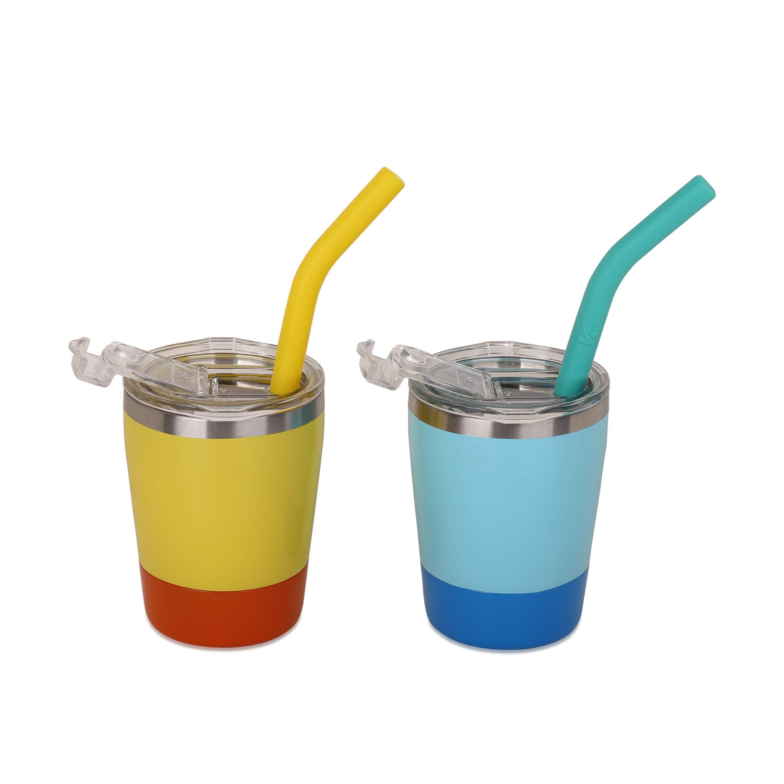 Colorful Straw Cups with Lids, Pack of 2, Kichuzl Dual Colors Toddler Cup Set Stainless Steel Mugs with Lids and Straws, Light Blue/Bright Yellow by Kichuzl
