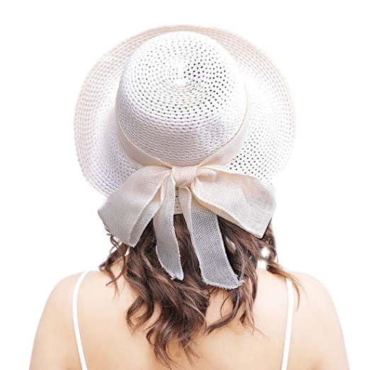 Edwardian Hats, Titanic Hats, Tea Party Hats Anycosy Straw Sun Hat-Womens Floppy Foldable Beach Summer Bohemia Bow Knot Caps For Ladies and Women $15.98 AT vintagedancer.com