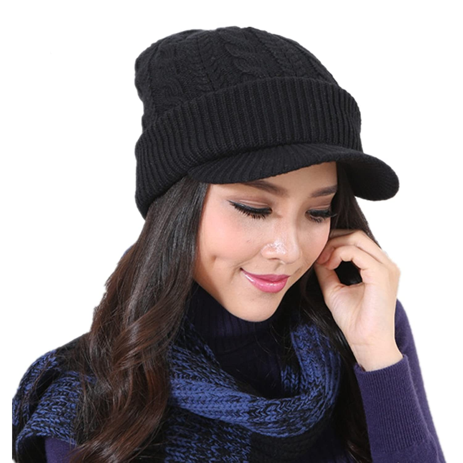 3fc8aa663677ea Connectyle Women 's Warm Bill Winter Hats Slouchy Cable Knitted Beanie Cap  with Visor Newsboy Cap Black, 55 60cm at Amazon Women's Clothing store: