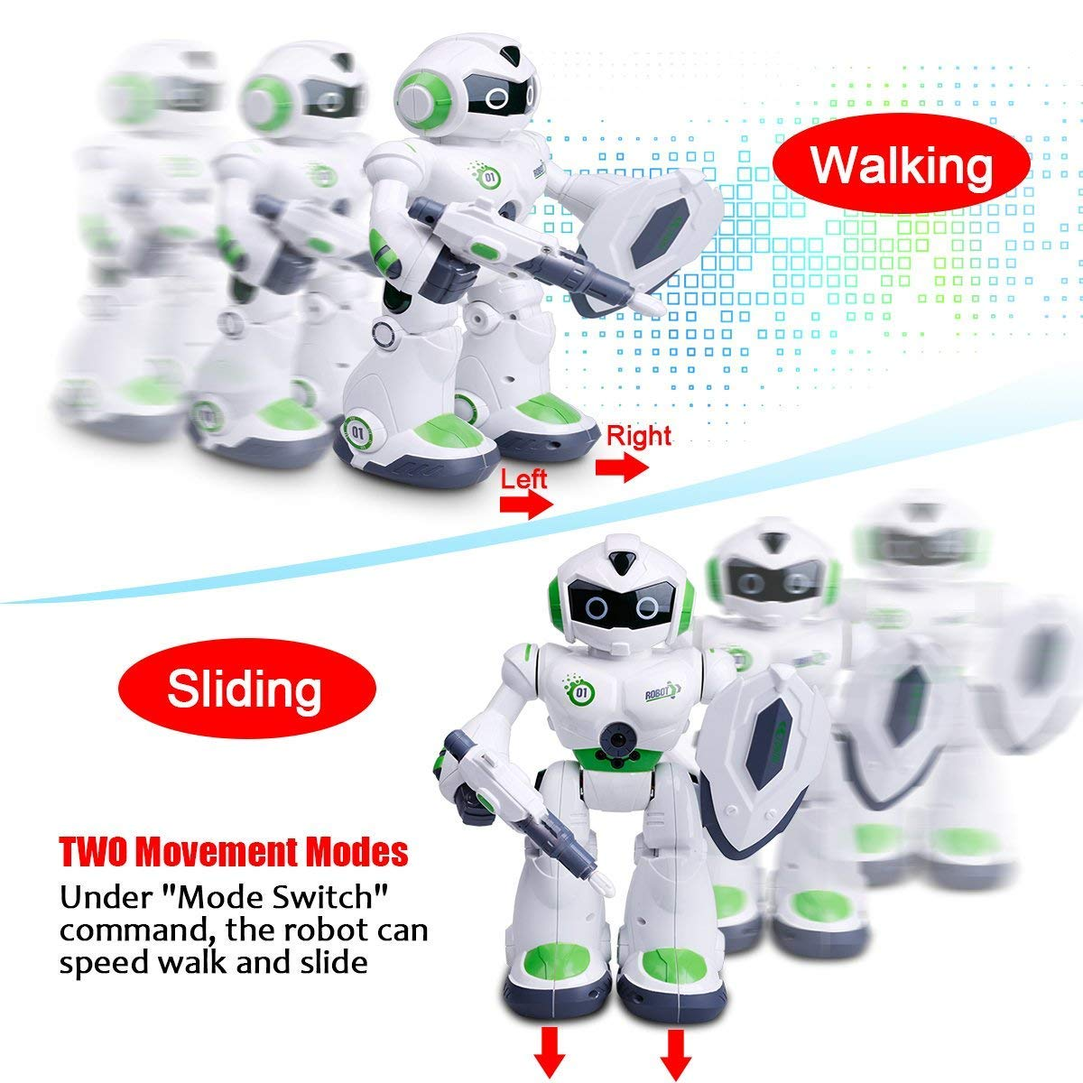 Remote Control Robot,Robot Toys,Smart Robotics for Kids with Gesture Sense, Interactive Walking Singing Dancing Speaking,with LED Light, Shoots Missiles, Talking, Walking, Singing, Educational Toys by Locke Teddy (Image #5)