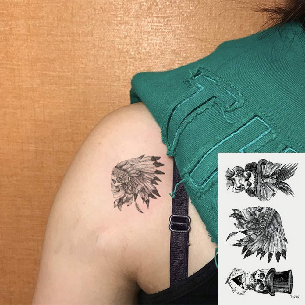 Oottati 2 Hojas Pequeño Lindo Tatuaje Temporal Tattoo Cráneo Indio ...