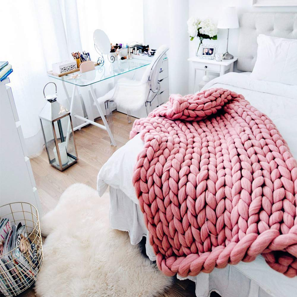 Light Pink Chunky Blanket Wool Blanket Merino Wool Knit Blanket 79x79in Giant Throw Super Big Bulky Yarn Arm Knitting Throw Home Decor Birthday Gift by Clisil (Image #4)
