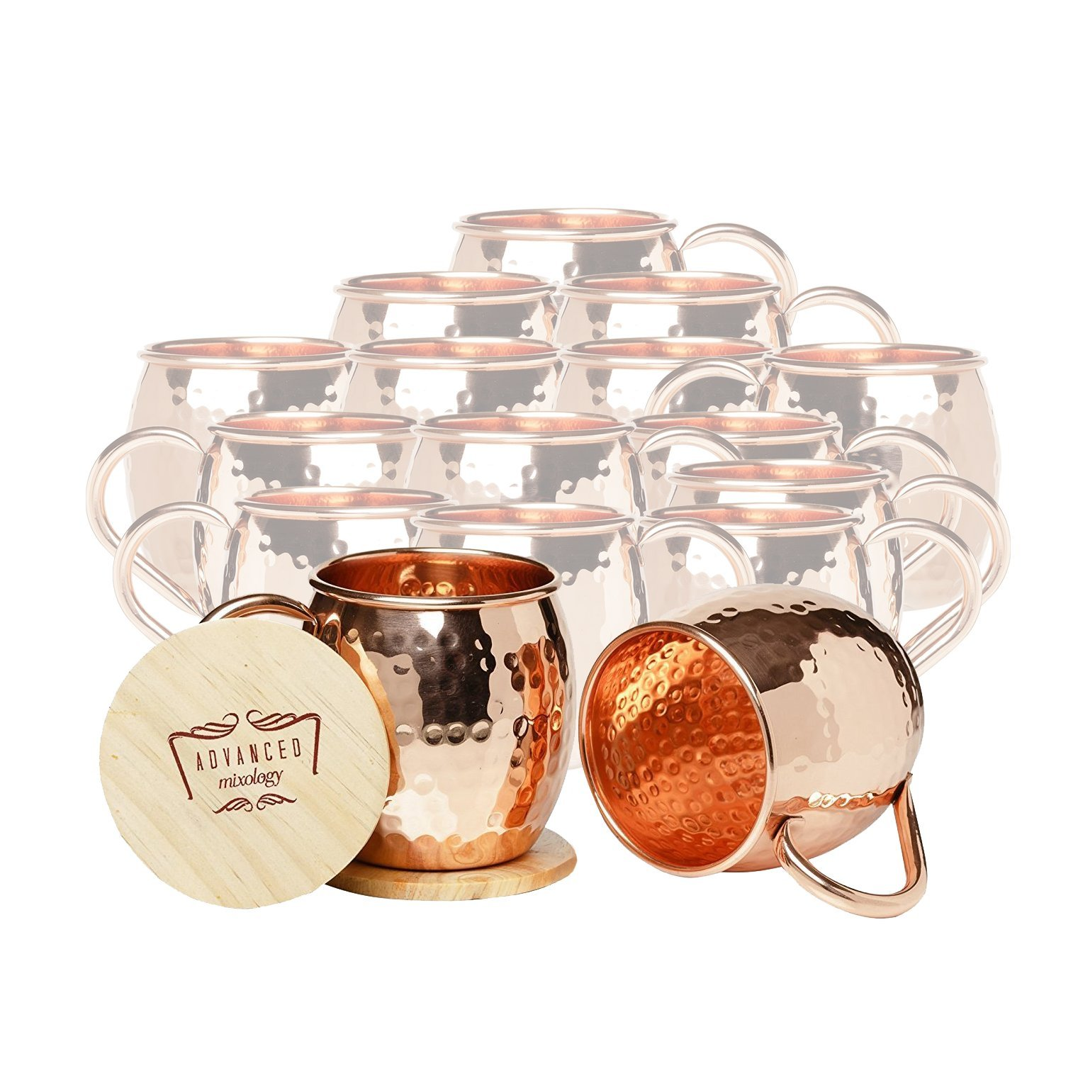 Set of 16 Advanced Mixology Barrel Mugs (Copper Handle)