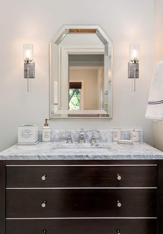 Modern Bathroom Vanity Light Brushed Nickel Finish XB-W1227-BN XiNBEi Lighting Wall Sconce 1 Light Sconces Wall Lighting with Glass