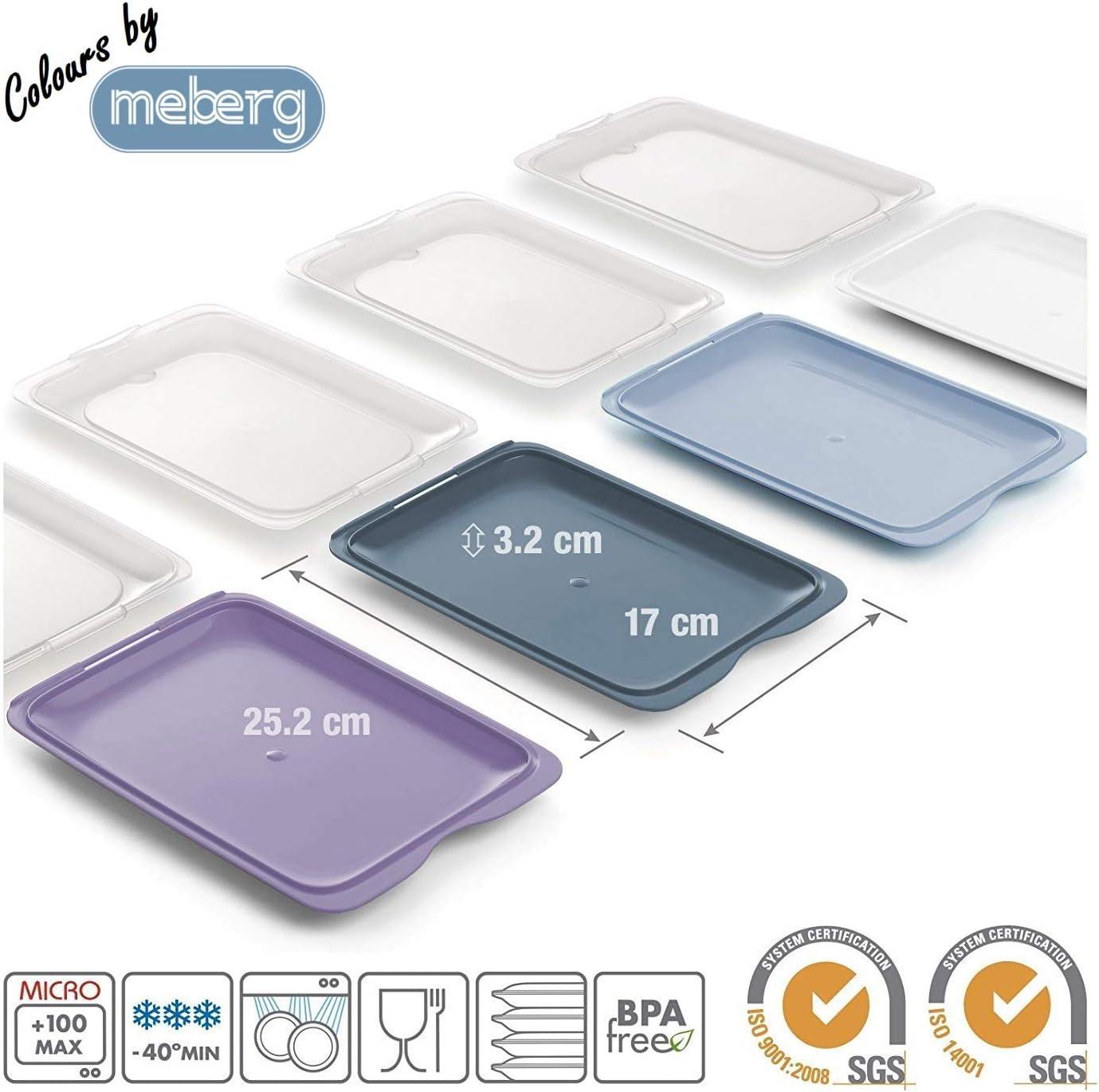 Hochwertige Aufschnitt-Boxen 4er Set Colours by meberg platzsparend stapelbar Stapelboxen Foodcenter Frischhaltedosen f/ür den K/ühlschrank // Vorratsdosen-Set f/ür Aufschnitt mit integrierter Servierplatte