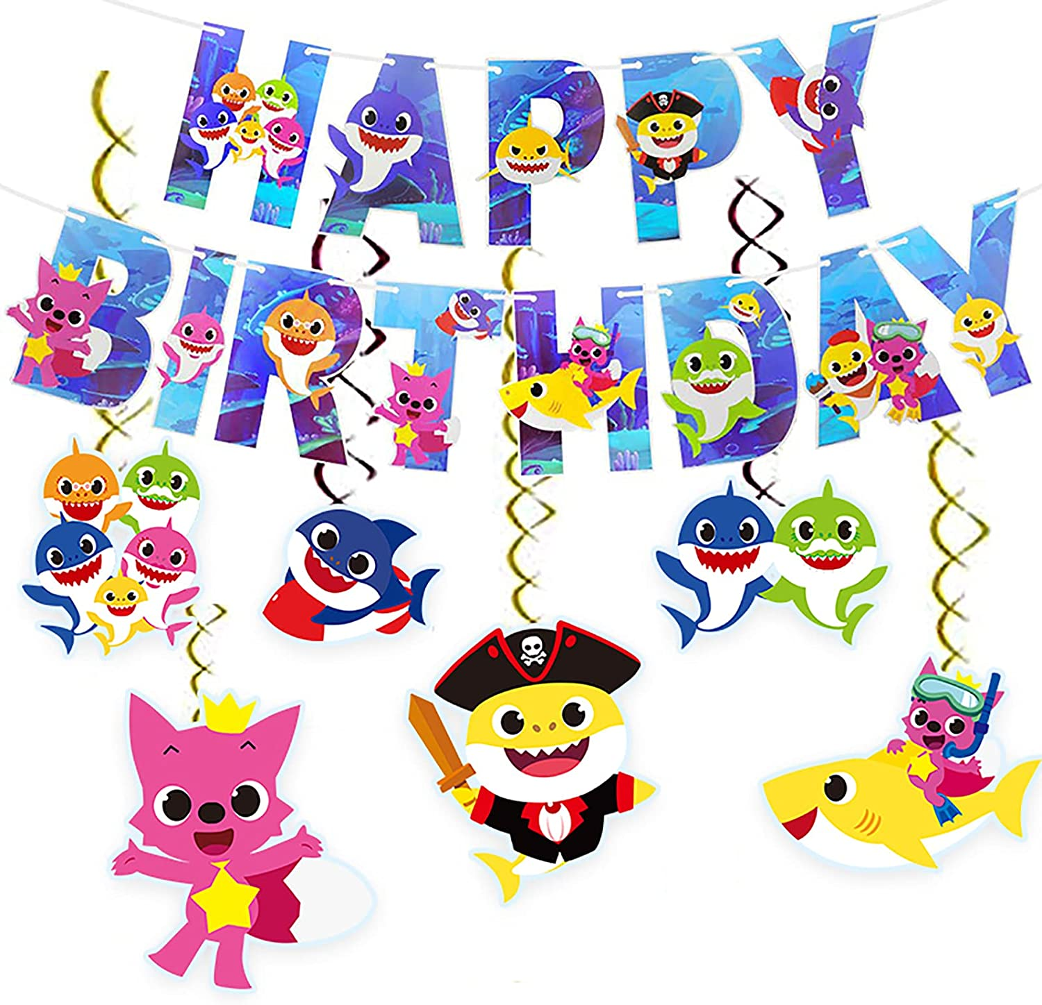 Shark Baby Birthday Decorations party favors Gatherings Decorations Baby Shark Theme Game Party Supplies,Boys and Girls Happy Birthday Banner