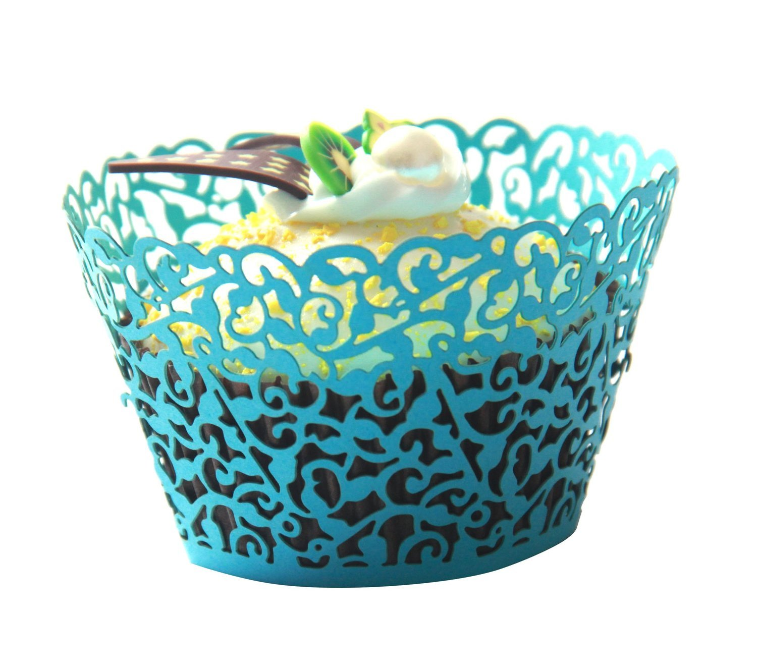 LEFV™ 24pcs Cupcake Wrapper Filigree Little Vine Lace Laser Cut Liner Baking Cup Muffin Case Trays Wraps Wedding Birthday Party Decoration Blue by LEFV (Image #2)