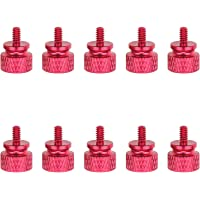 Favordrory 6#-32 Anodized Aluminum Thumbscrews, Computer Case Thumbscrews, Thumb Screws, Red, 10 PCS