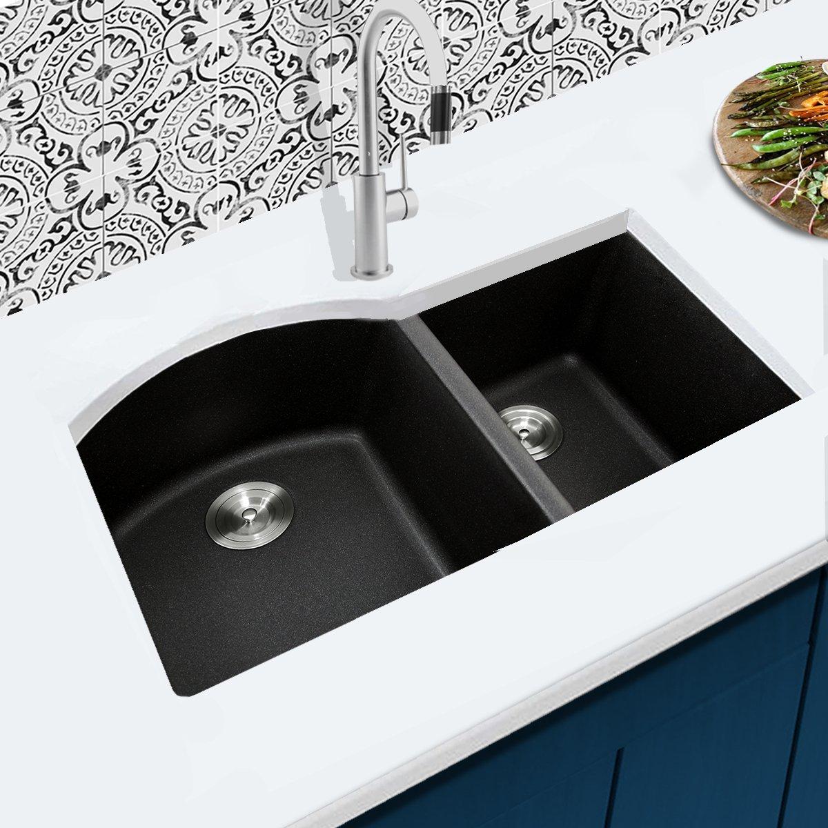 Highpoint Collection 60/40 Undermount Granite Composite Sink - Black